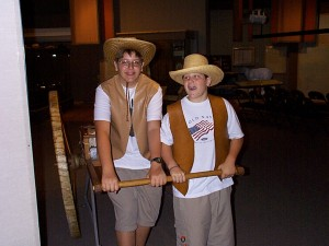 Seth and Sol Practice their handcart skills. These came in handy when they did an actual three day adventure in the early 2000s.  Taken at Mormon Trail Center, Omaha in Summer 1999