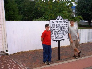 Seth and Solomon at Tom Sawyer's Fence in Hannibal, Missouri., Summer 2001
