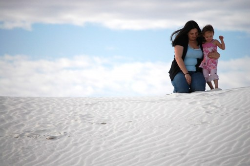 Joselyn with her mother at White Sands National Monument in southern New Mexico, April 2011