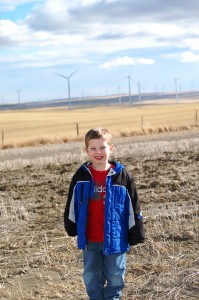 Charlie at the giant wind farm near Shelby, Montana - Feb. 2012