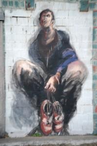 Wall mural at barrel House Distillery