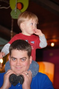 My youngest grandchild Benson with his Dad Aaron at Lynn's Paradise Cafe in Louisville, Dec 2012