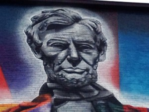 Detail of Lincoln's Head on the Eduardo Kobra painting in Lexington