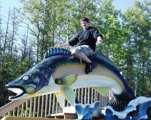 Solomon riding the Big Fish at Lake Kabetogama in Minnesota - Sept. 2007