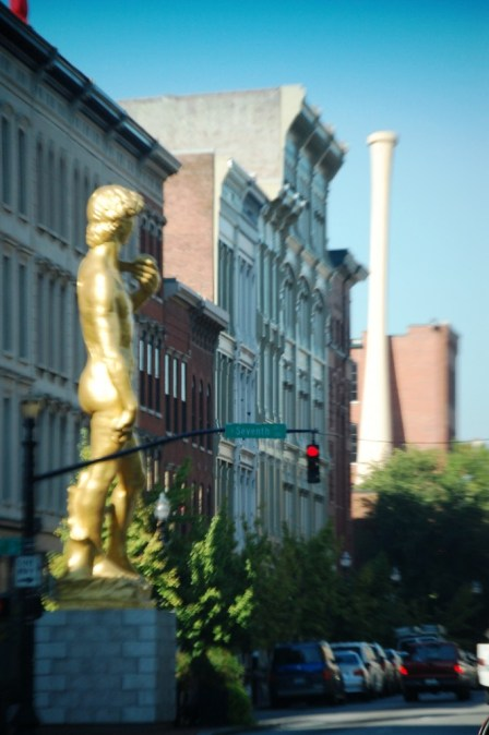 Giant David statue with Louisville Slugger bat in Background