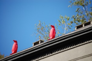 Pink Penguins can be seen all around the WC21 building