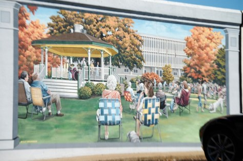 Band Concert in Town Square - one of 12 floodwall murals painted by Robert Dafford