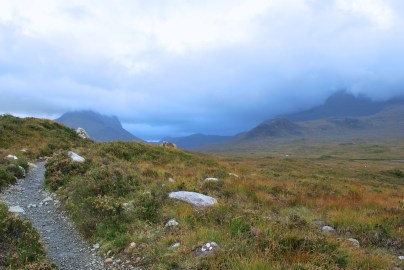 Walking from Sligachan towards the Cuillin Mountains