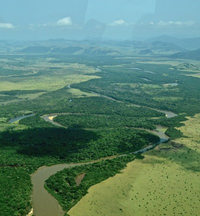 Rupununi savannah and mountains, and River Essequibo, Guyana