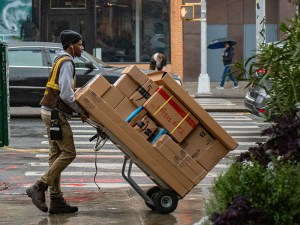 UPS third party courier distributing packages and parcels
