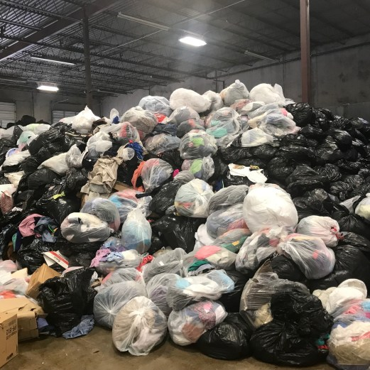 Bags of donated clothing.