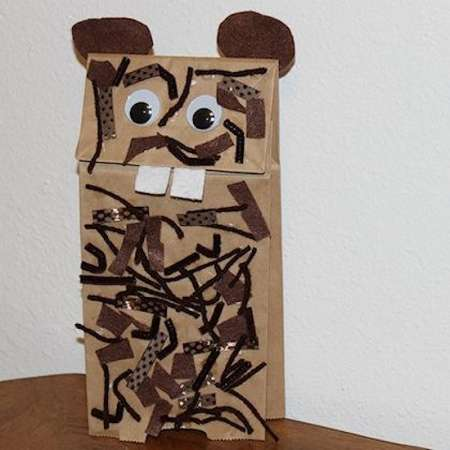 Textured Groundhog Puppet Craft