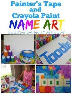 Painter's Tape + Paint Name Art