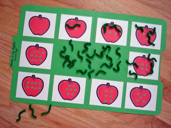 Worms in My Apples File Folder Game