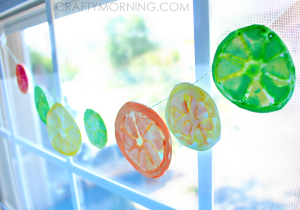 Glue and Watercolor Fruit Slice Craft