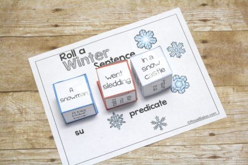 Roll a silly winter sentence story starters.