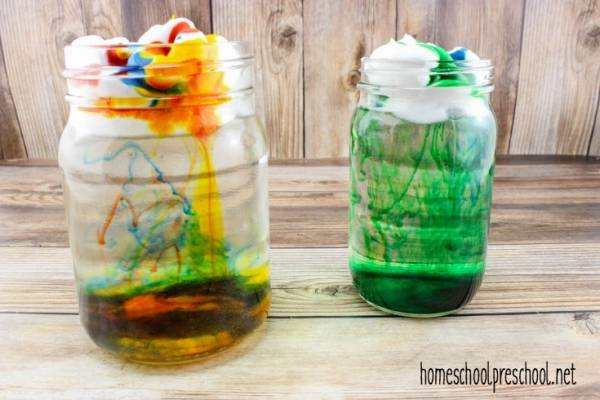 Make a colorful rain cloud in a jar.