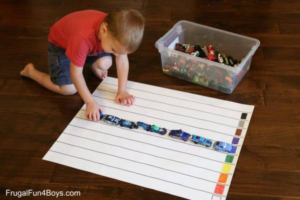 Make a graph on the floor to track colors.