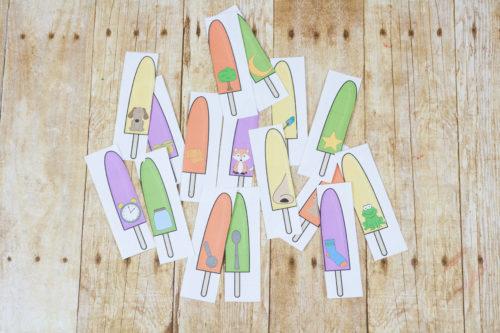 Popsicle rhyming word printables