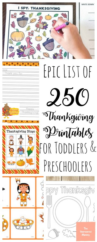 preschool thanksgiving printables