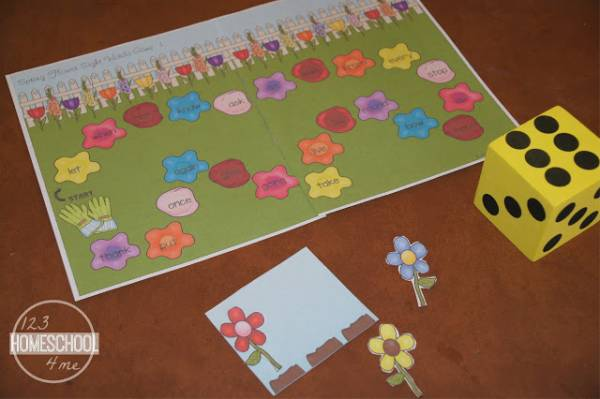spring flower sight word game