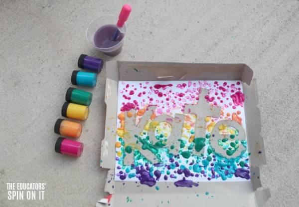 Drip Paint a Rainbow Resist Work of Art