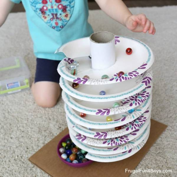 paper plate marble run