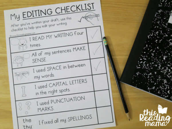 elementary editing checklists