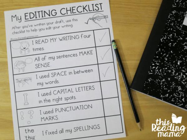 elementary editing checklists