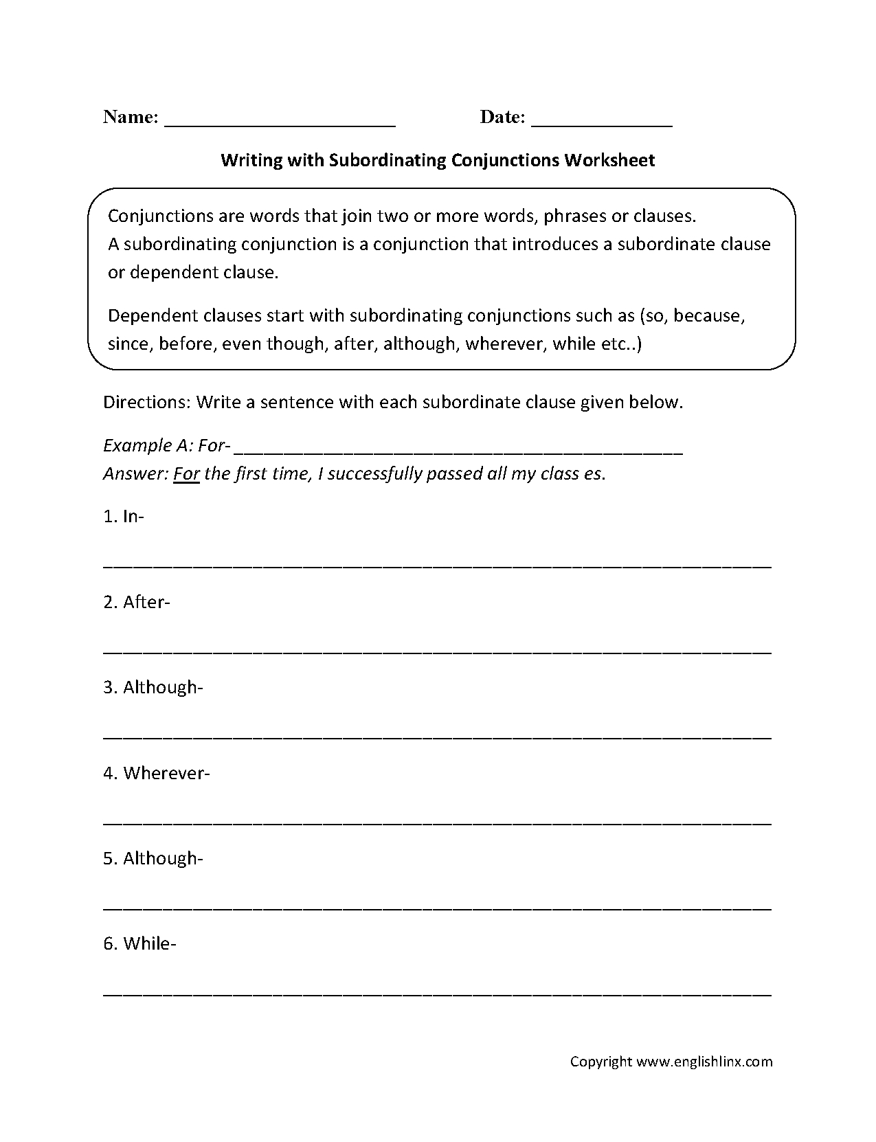 Subordinating Conjunctions Lesson Plan 5th Grade