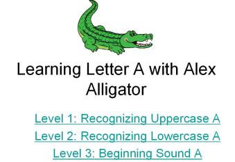 letter a interactive alphabet learning game