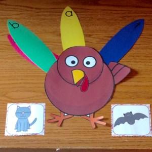 Thanksgiving turkey cvc words