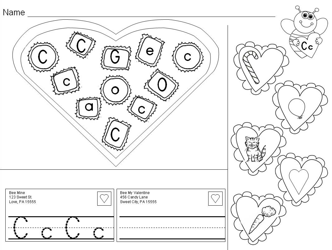 Valentine Alphabet Practice Letters Amp Letter Sounds Valentine S Day Pages Amp Center
