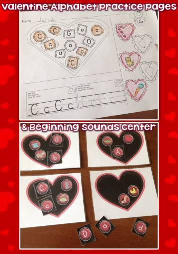 Valentine's Day Alphabet Pages, Beginning Sounds Center