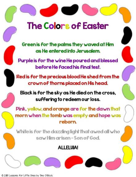 The Colors of Easter Jelly Bean Poem Christian Activities