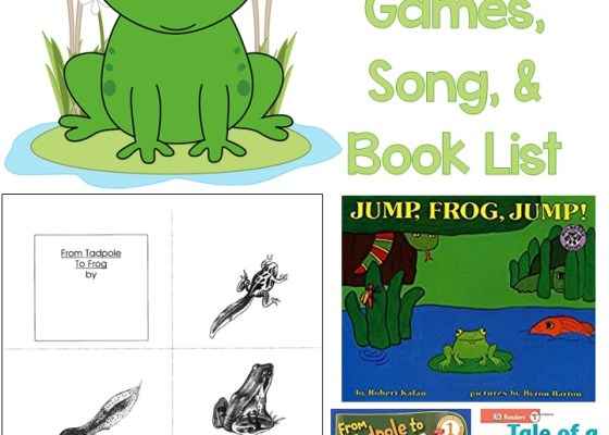 Frog Life Cycle Mini Book, Games, Song, & Book List