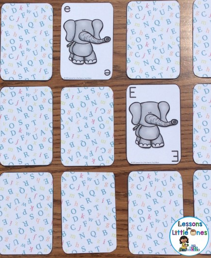 alphabet concentration game uppercase and lowercase letters differentiated