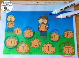 alphabet letter match in the pumpkin patch