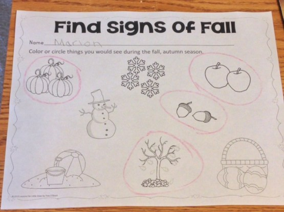 find signs of fall worksheet