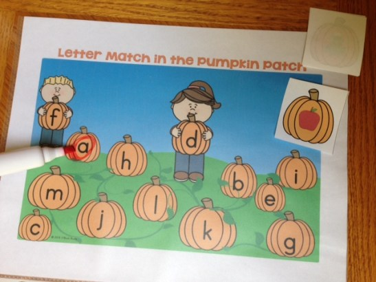 letter match review in the pumpkin patch