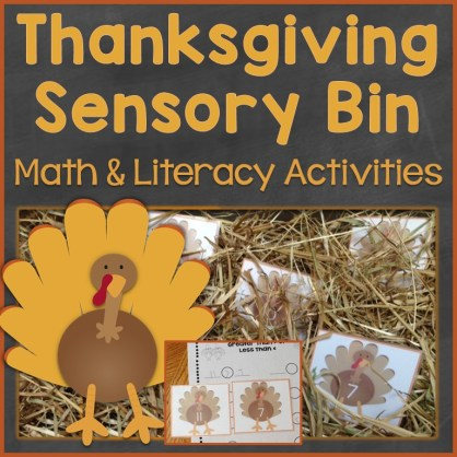Thanksgiving sensory bin activities math and literacy