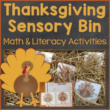 Thanksgiving sensory bin activities math and literacy