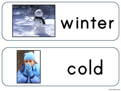 winter season word wall cards