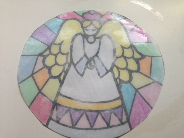 coloring page stained glass window
