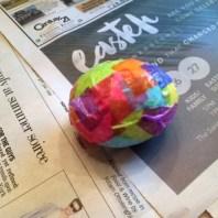 tissue paper Easter egg wet