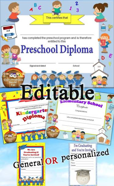 Christian, religious diplomas for preschool - grade 6