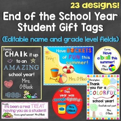 End of the School Year Student Gift Tags