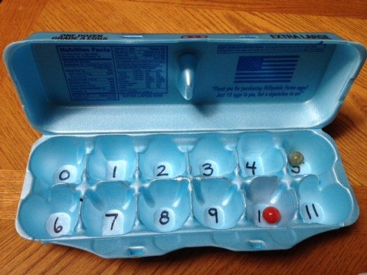 egg carton used for a math center