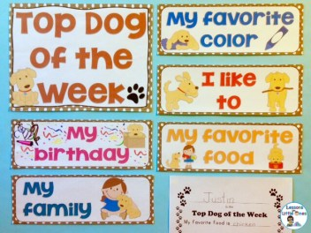 Top Dog (student) of the week display dog theme