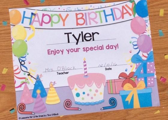 student birthday certificate